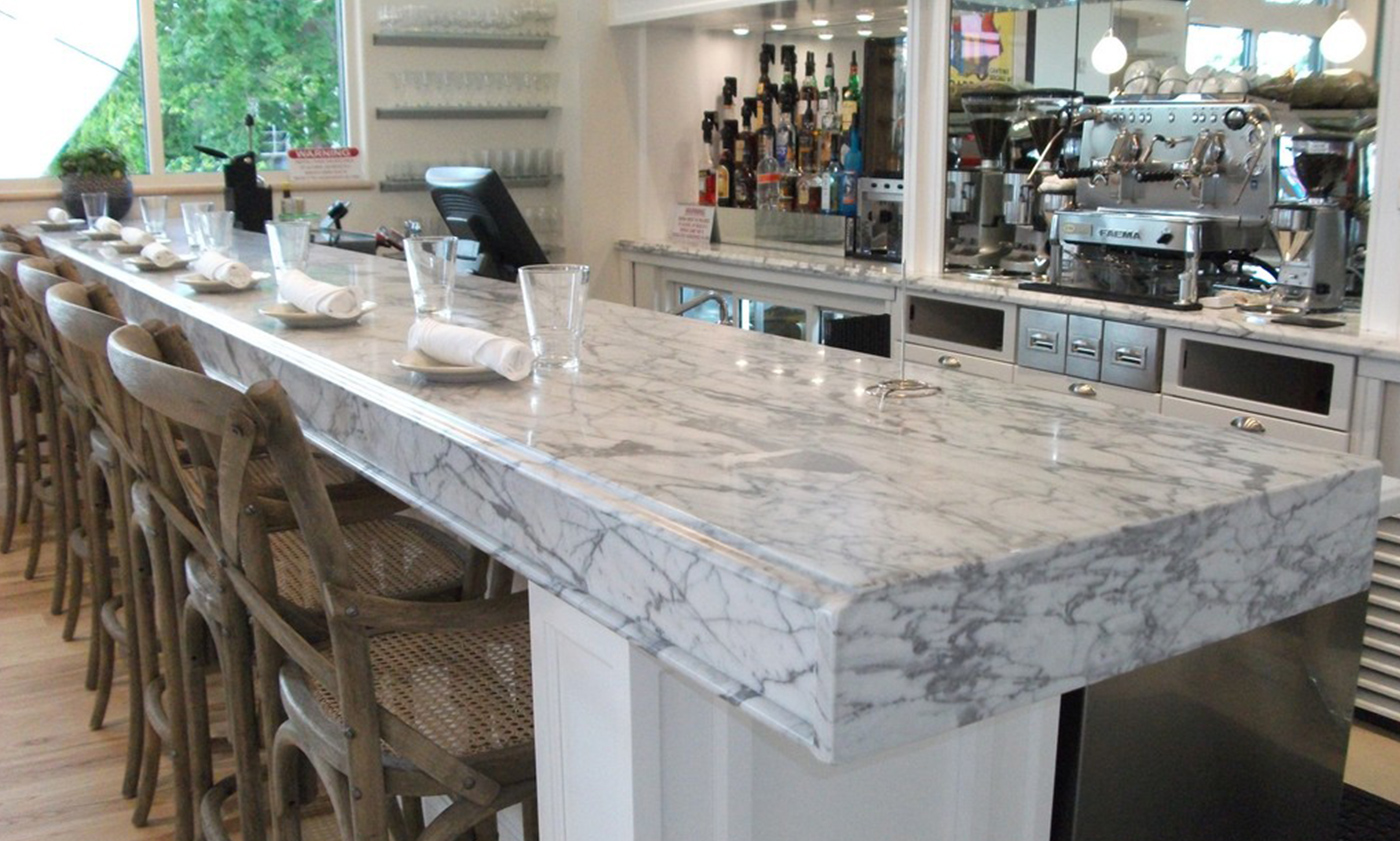 Local restaurant countertops remodel countertops edges installed by InteriorWorx Countertops