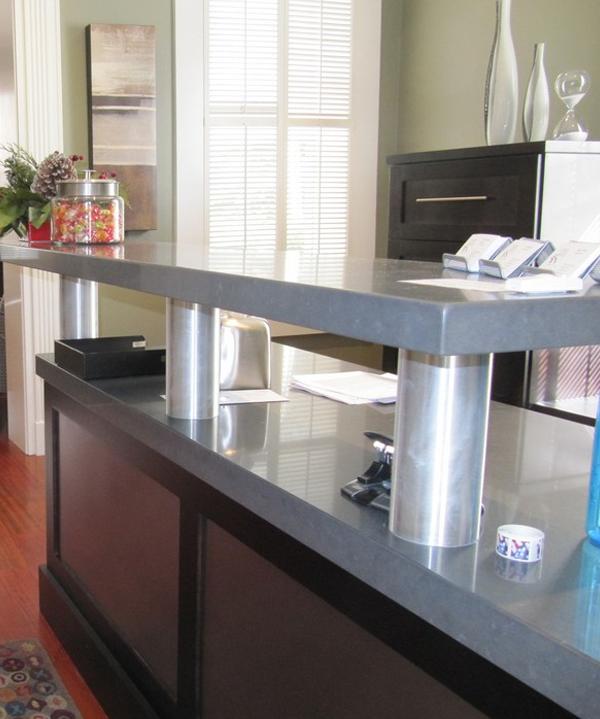 Countertop edges for reception desk