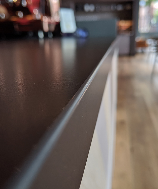 Solid-surface kitchen countertop edges installed by InteriorWorx Countertops